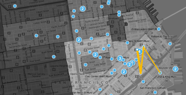Weeplaces maps FourSquare movements