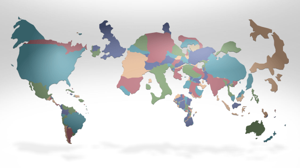 Cartogram of richest countries