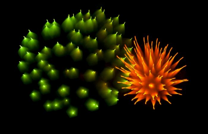 Long-exposure fireworks