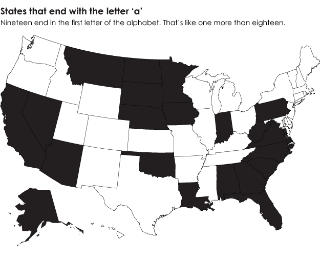 States that end in the first letter of the alphabet