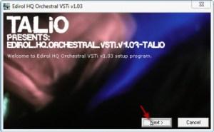 первое окно установки плагина HQ Orchestral VSTi v1.03. Нажимаем NEXT>