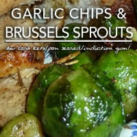 Pan Roasted Brussels Sprouts with Garlic Chips - Induction & Page 4 Friendly