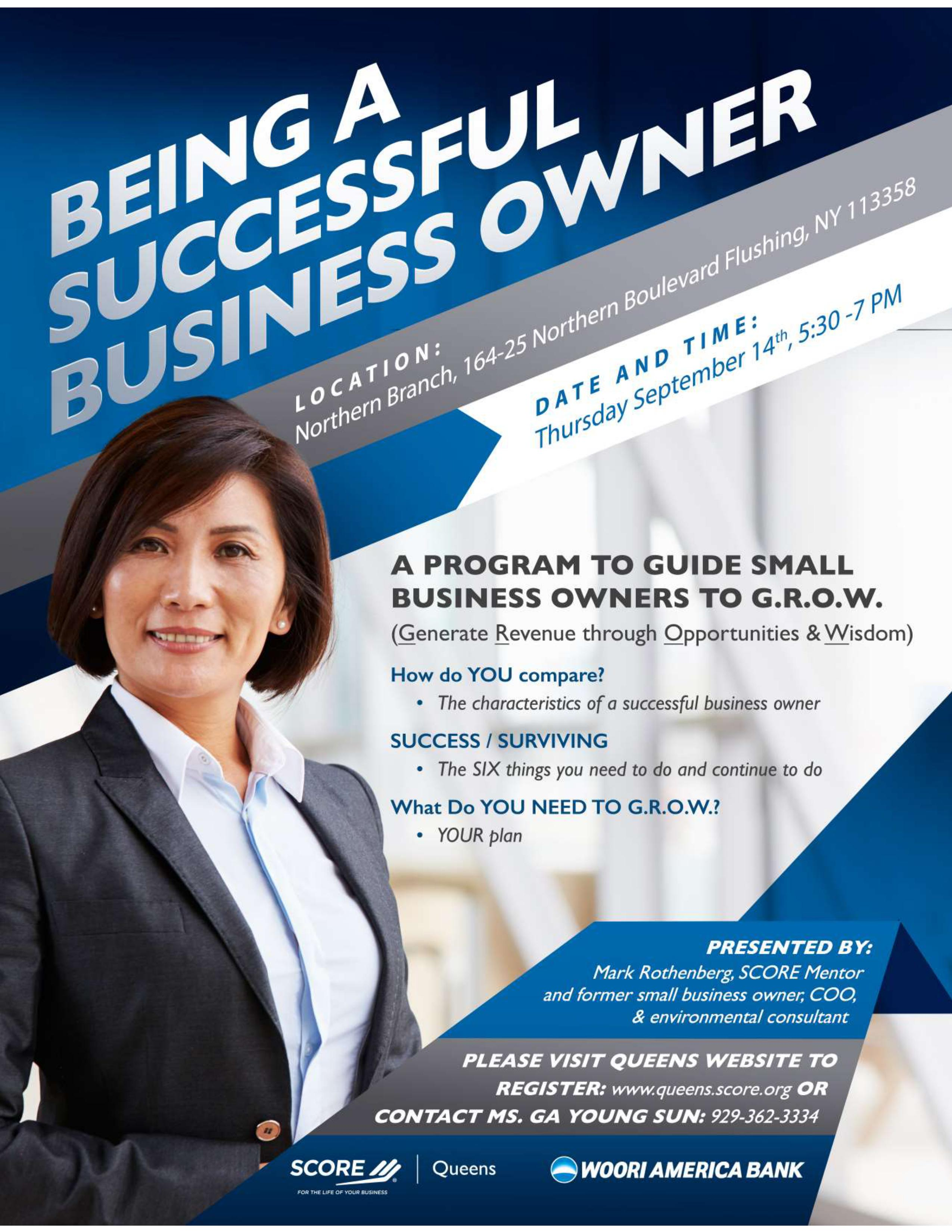 queens score workshop being a successful business owner greater