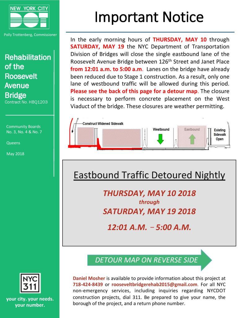LANE CLOSURE NOTICE - Roosevelt Ave Bridge - May 10 - 19-page-001
