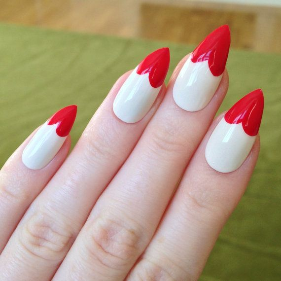 White Tip Acrylic Nails Pointy White Red Acrylic Nails