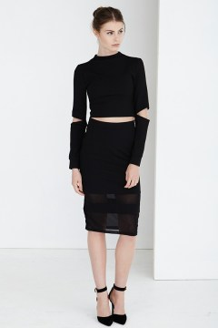 Black Cropped Top and Pencil Skirt