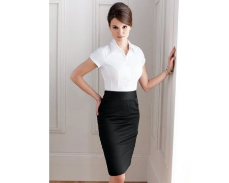 Black Pencil Skirt with Short-sleeve Button-down Blouse