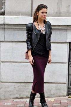 Pencil Skirt, Black Top, Leather Blaser, Black Boots