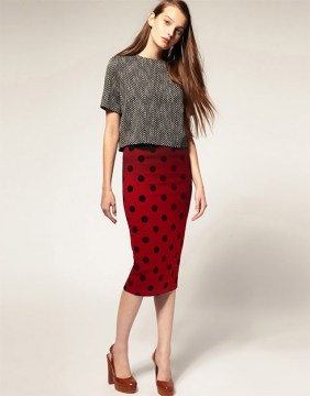 Pencil Skirt With Textured Polka Dots