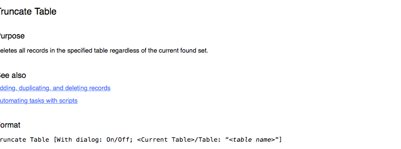 Truncate Table