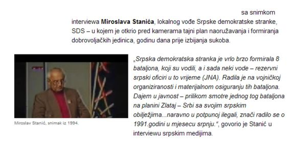 Foča 1992. - 1995. - četnički ideolog Miroslav Stanić