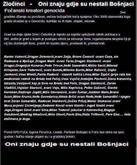 Foča 1992. - 1995. - oni znaju gdje su nestali bošnjaci