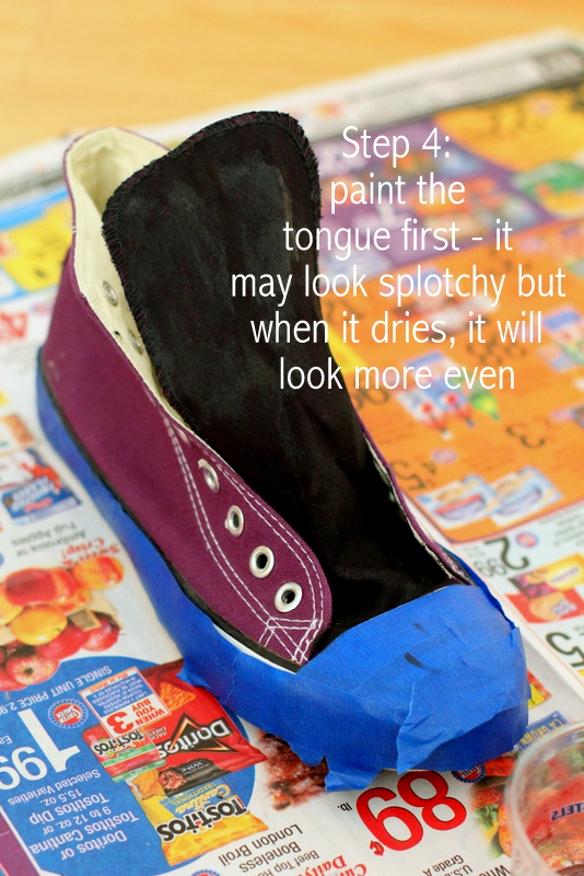 how to paint your shoes black