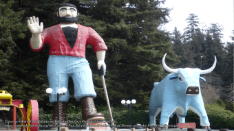 Concrete folk art of Paul Bunyan and Babe the Blue Ox in Klamath, CA. (Ellin Beltz