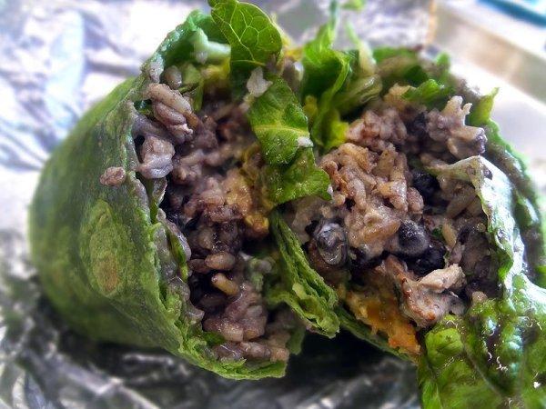 Inside the green burrito at Sloppy's Burritos - San Diego
