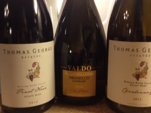 Pinot Noir, prosecco and Chardonnay from Pasternak