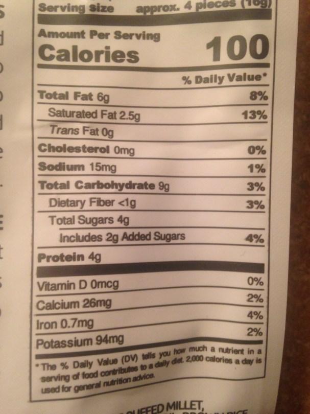 TeaSquares nutrition info