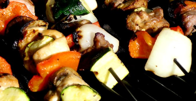 Ginger-Garlic Chicken (or Steak) and Veggie Kabobs Recipe