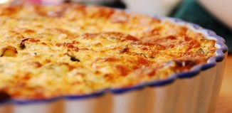 Quiche in baking pan