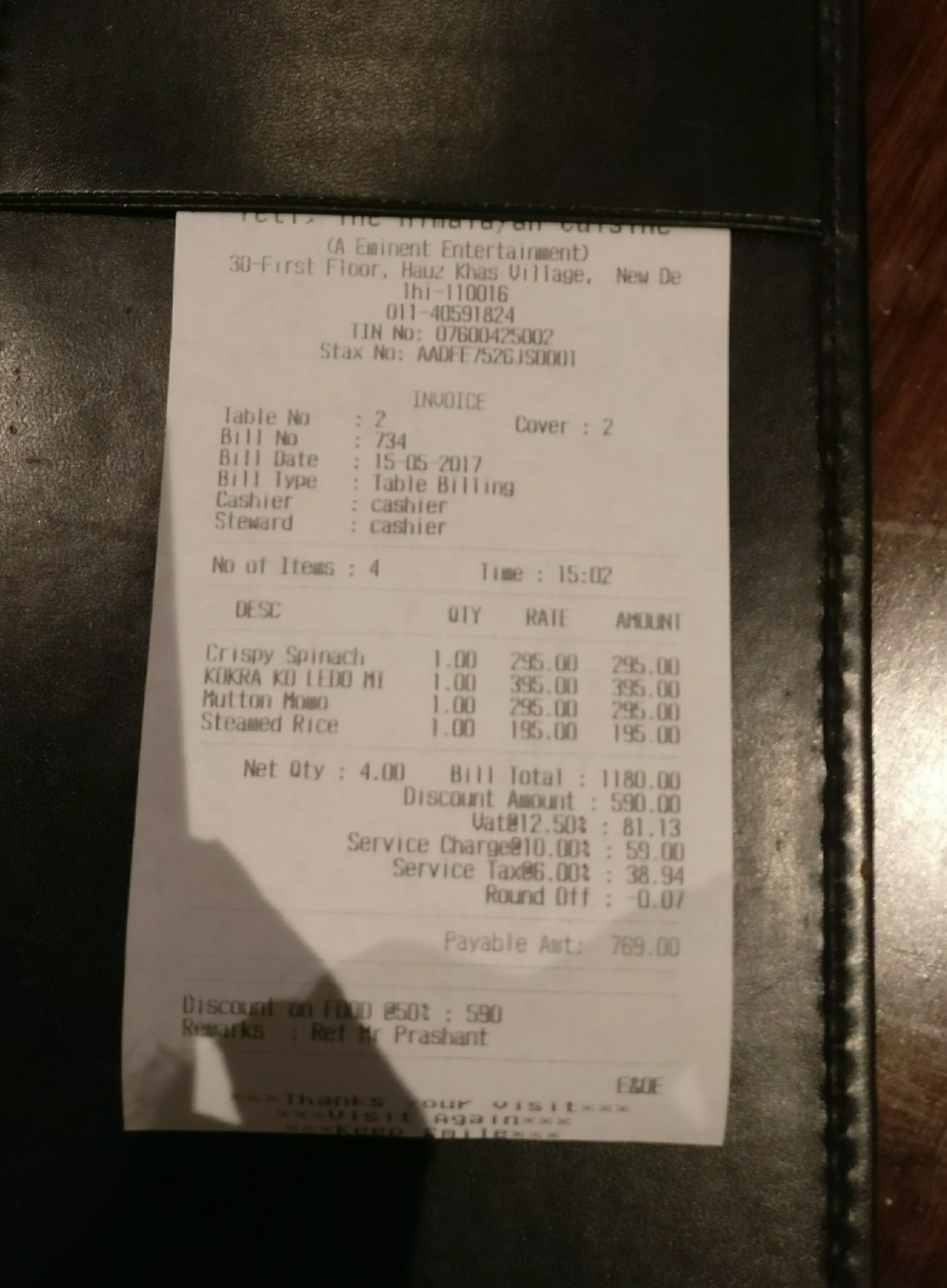 YETI     The Himalayan Kitchen     Foodbitesbysanju But on my insistence  he gave me the bill with handsome discount and I paid  Rs  769   for the same