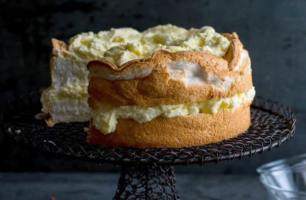 Lemon Angel Food Cake With Preserved Lemon Curd