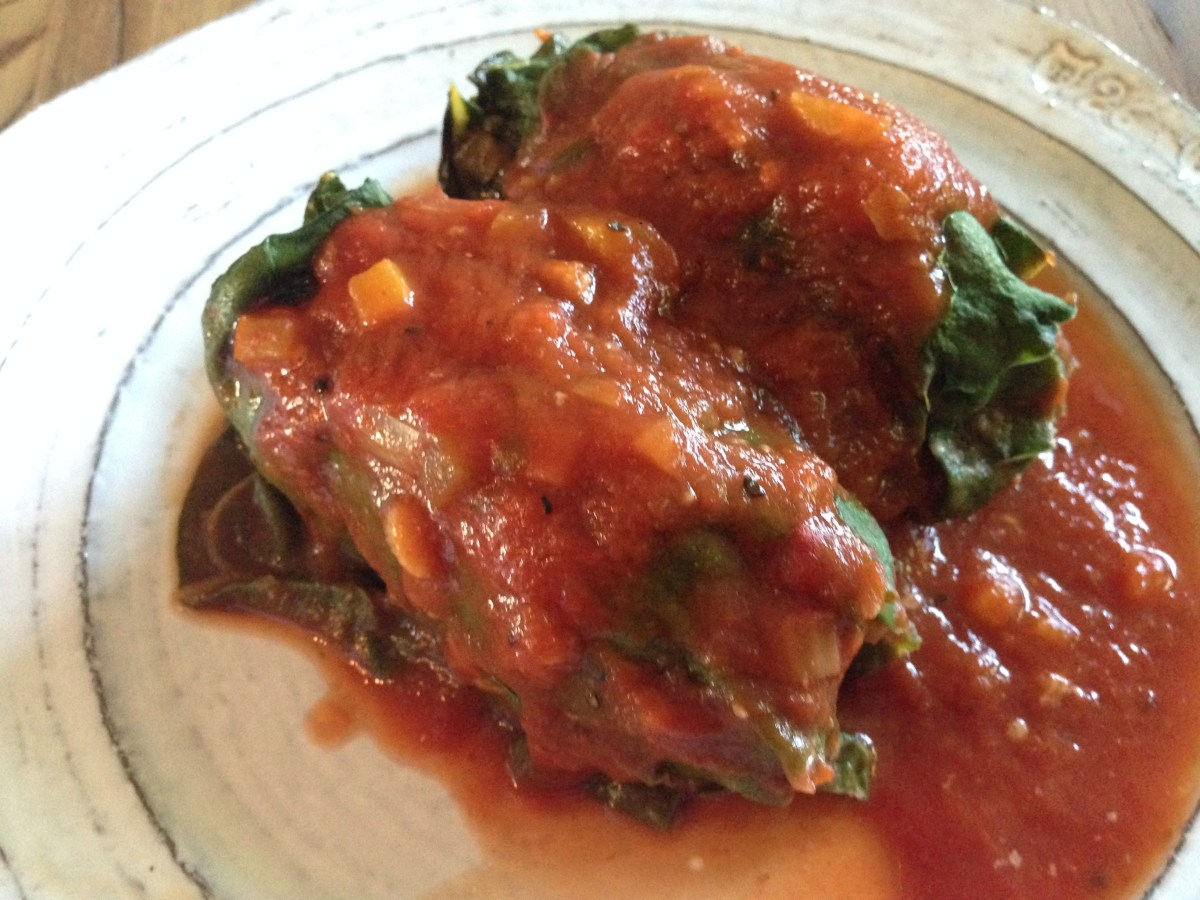 Stuffed Rainbow Chard Rolls with a Simple Garden Veggie & Tomato Sauce ...