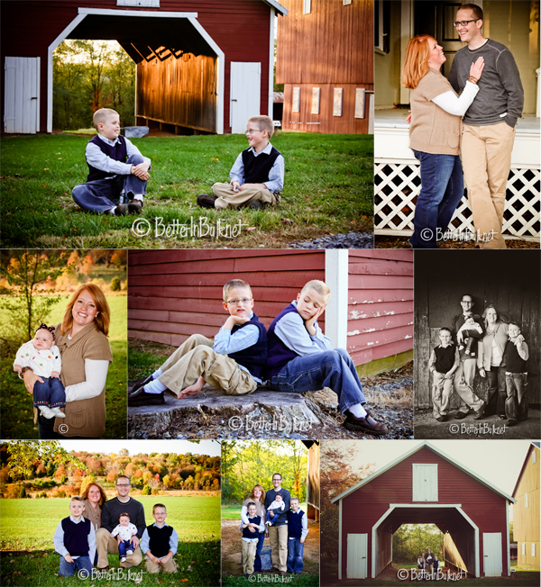 family pictures at the barn