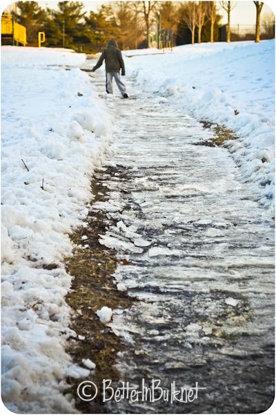 winter walk to school