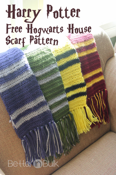 Harry Potter Scarf Knitting Pattern Slytherin : Harry Potter House Scarves {Free Crochet Pattern}