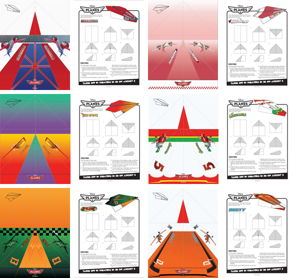 Disney's Planes paper airplanes