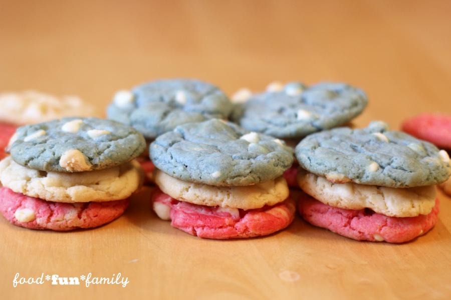 Red white and blue cake mix cookies - the perfect EASY and delicious cookie recipe for the 4th of July, Memorial Day, and beyond.