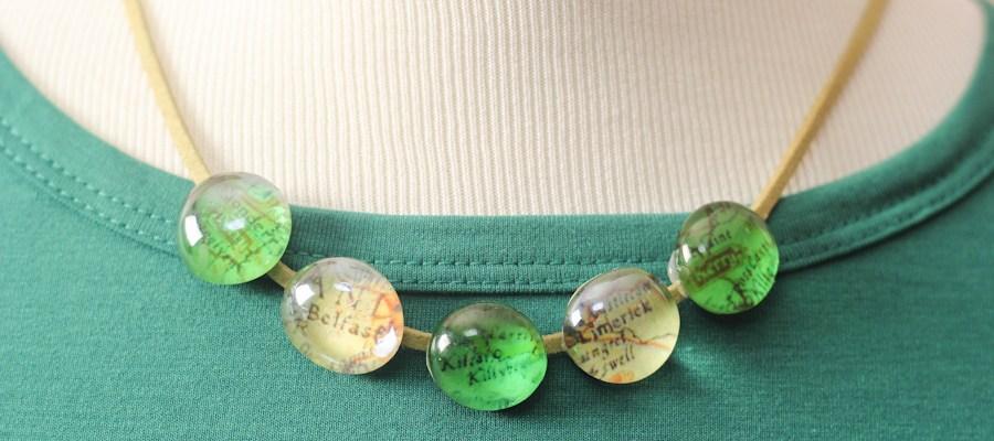 St. Patrick's Day Glass Map Necklace