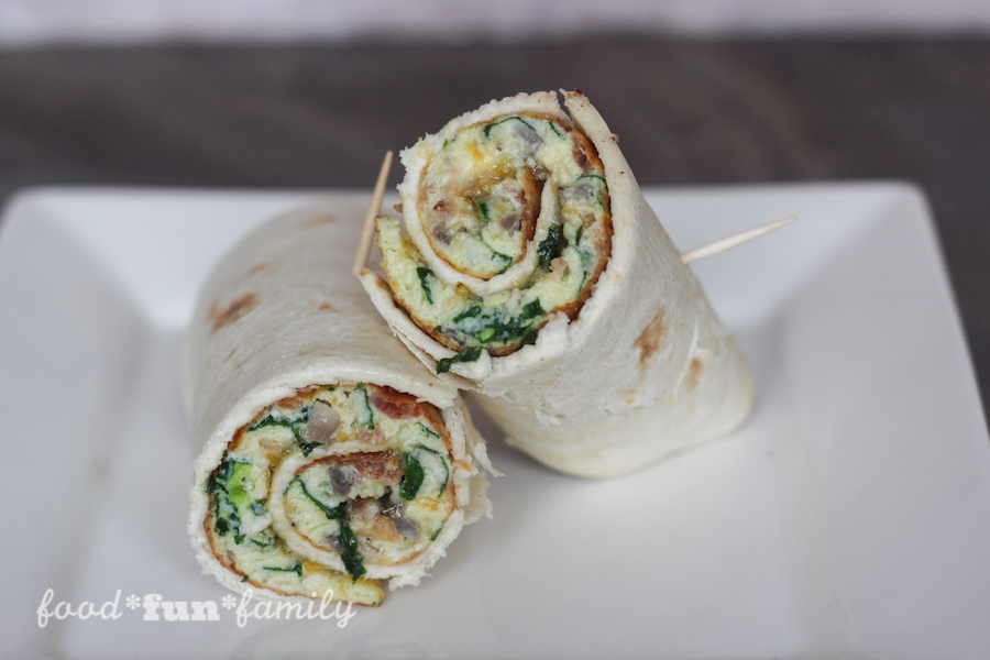 Spinach & Bacon Breakfast Burrito