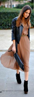 Awesome brown dress with black leather jacket