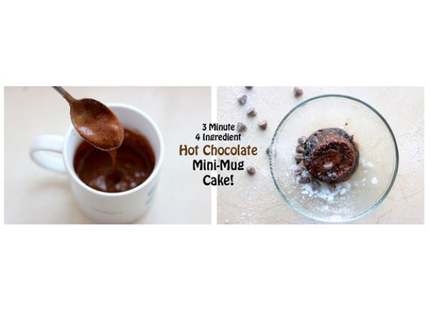 3 Minute, 4 Ingredient Hot Chocolate Mini-Mug Cake!