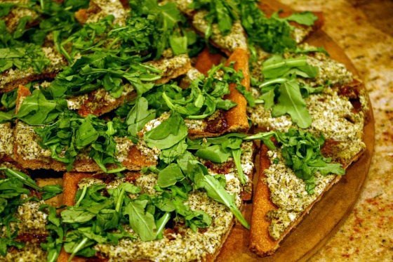 Vegetarian Pesto Ricotta Flatbread Appetizer