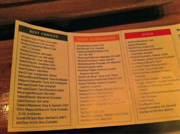 Sustainable Seafood Chart, Tataki, SF