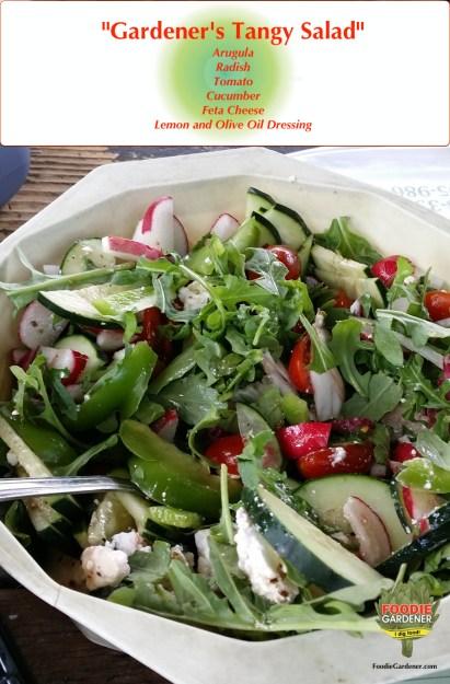 gardeners-tangy-salad-arugula-radish-tomato--cucumber-feta-cheese-foodie-gardener-blog