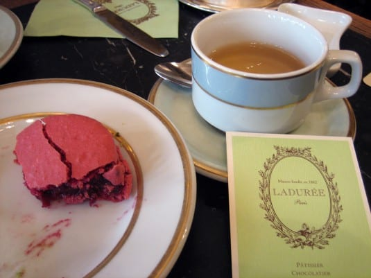 Raspberry macaron and tea at La Durée