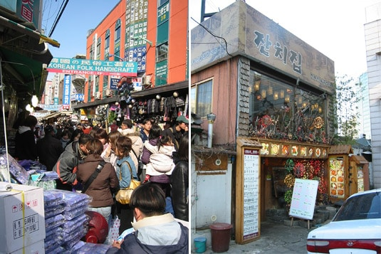 One very busy market and one delicious restaurant in Seoul.