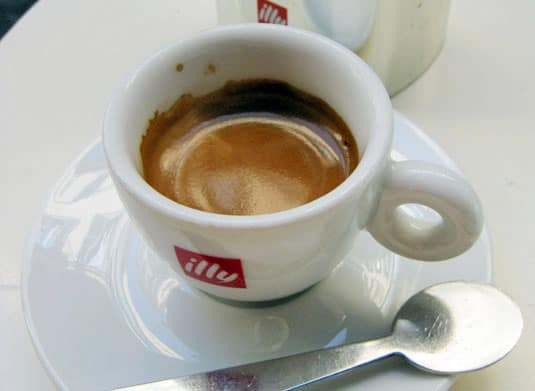 A cup of rich and strong Italian espresso