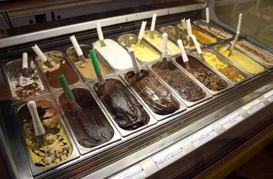 The array of chocolate- and milk-based gelati at La Gelateria Del Teatro in the center of Rome.