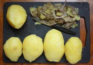 Cooked and peeled potatoes.