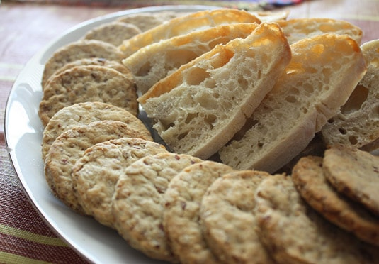Savory olive oil and nuts crackers, homemade bread