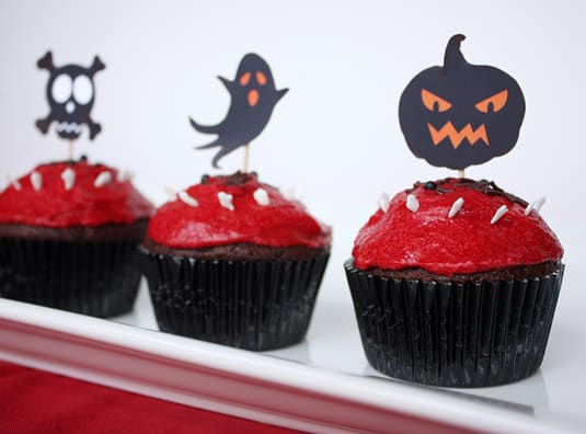 Ghoulish Graveyard Cupcakes: Dark Chocolate Mocha Cupcakes, Cream Filling, Red Licorice Buttercream