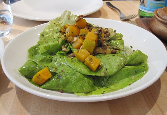 Pumpkin &amp; Bibb Salad with caramelized pumpkin seeds and Asian pear-peppercorn vinaigrette (Kin Shop, New York City)