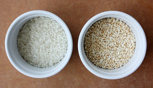 Before/After roasting sticky rice