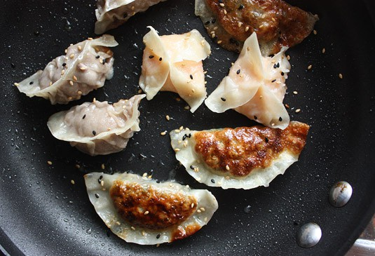 Dumplings cooked with the Fry &amp; Steam (Potsticker) method.
