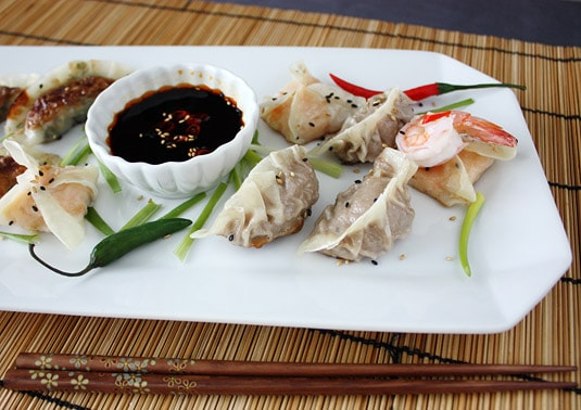 Beef, Shrimp and Vegetable Dumplings with Dipping Sauce