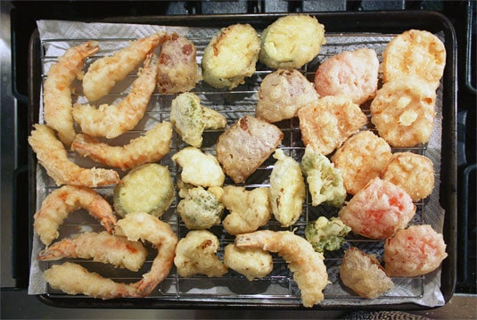 A rack of beautifully crisp shrimp and vegetable tempura